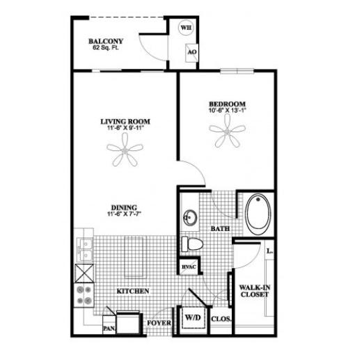 1 bedroom 1 bathroom A2 floorplan at 17 Barkley Lane Apartments in Gaithersburg, MD