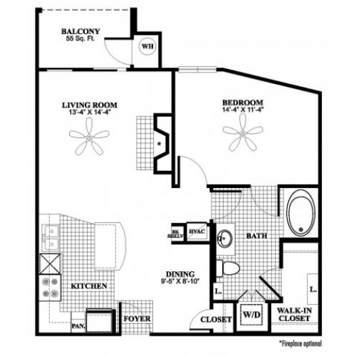1 bedroom 1 bathroom A3 floorplan at 17 Barkley Lane Apartments in Gaithersburg, MD