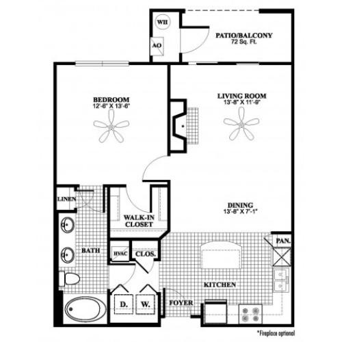 1 bedroom 1 bathroom A4 floorplan at 17 Barkley Lane Apartments in Gaithersburg, MD