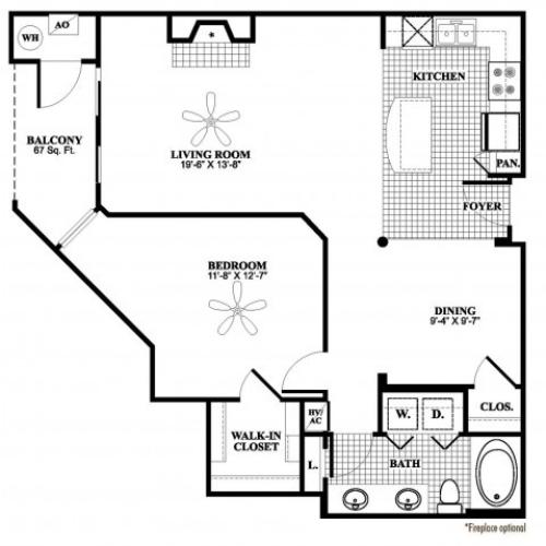 1 bedroom 1 bathroom A6 floorplan at 17 Barkley Lane Apartments in Gaithersburg, MD