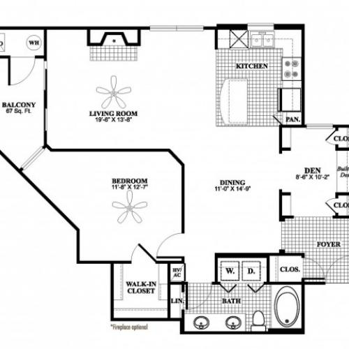 1 bedroom 1 bathroom plus den A7D floorplan at 17 Barkley Lane Apartments in Gaithersburg, MD