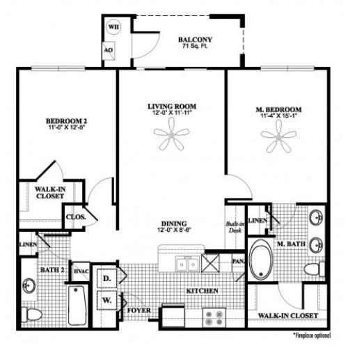2 bedroom 2 bathroom B1 floorplan at 17 Barkley Lane Apartments in Gaithersburg, MD
