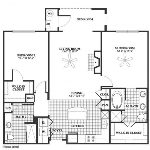2 bedroom 2 bathroom B6 floorplan at 17 Barkley Lane Apartments in Gaithersburg, MD