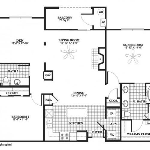 2 bedroom 2 bathroom plus den B8D floorplan at 17 Barkley Lane Apartments in Gaithersburg, MD