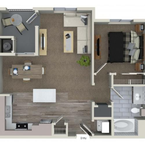 1 bedroom 1 bathroom A1.1 floorplan at Valentia Apartments in La Habra, CA