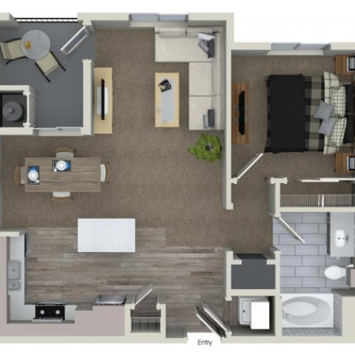 1 bedroom 1 bathroom A1 floorplan at Valentia Apartments in La Habra, CA