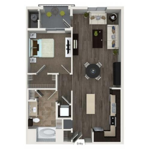 1 bedroom 1 bathroom A2.1 floorplan at Valentia Apartments in La Habra, CA