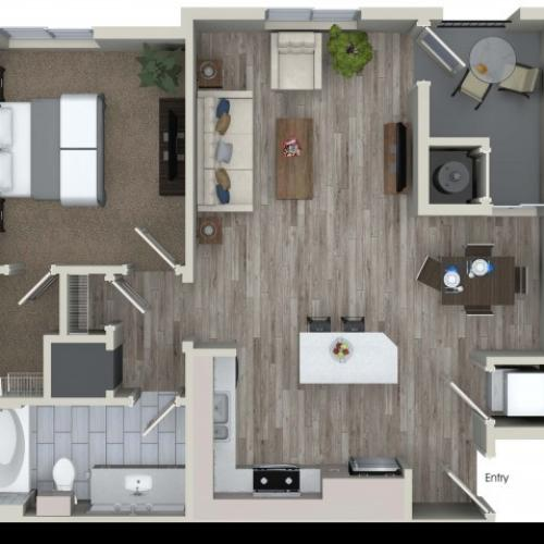 1 bedroom 1 bathroom A3 floorplan at Valentia Apartments in La Habra, CA
