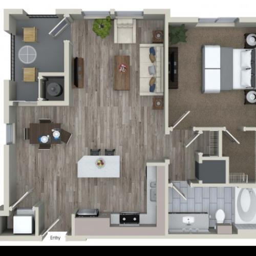 1 bedroom 1 bathroom A3.1 floorplan at Valentia Apartments in La Habra, CA