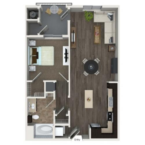 1 bedroom 1 bathroom A4 floorplan at Valentia Apartments in La Habra, CA