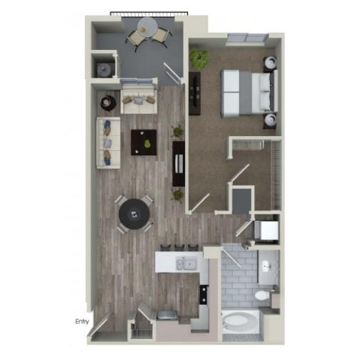 1 bedroom 1 bathroom A5 floorplan at Valentia Apartments in La Habra, CA