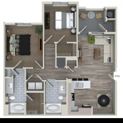 2 bedroom 2 bathroom B2 floorplan at Valentia Apartments in La Habra, CA