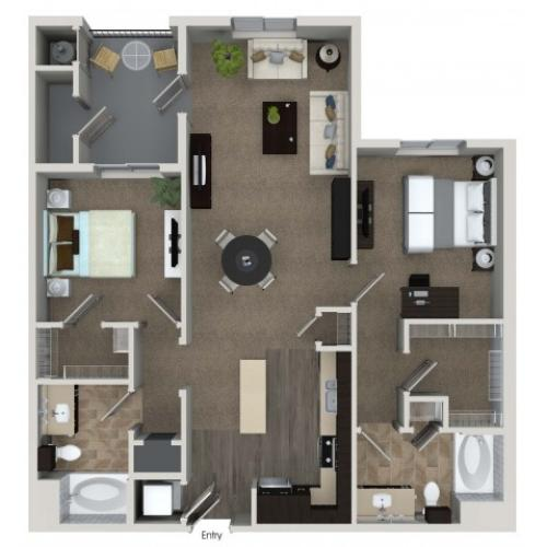 2 bedroom 2 bathroom B3 floorplan at Valentia Apartments in La Habra, CA