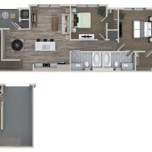 2 bedroom 2 bathroom B4 floorplan at Valentia Apartments in La Habra, CA