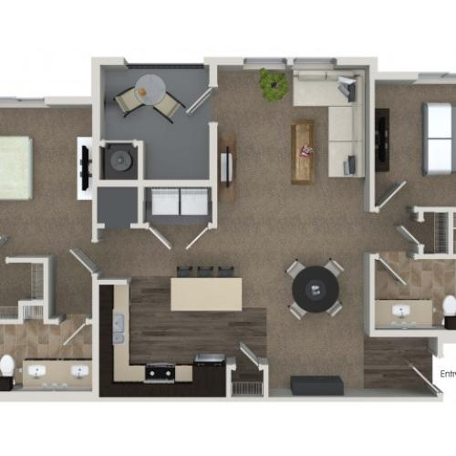 2 bedroom 2 bathroom B5 floorplan at Valentia Apartments in La Habra, CA