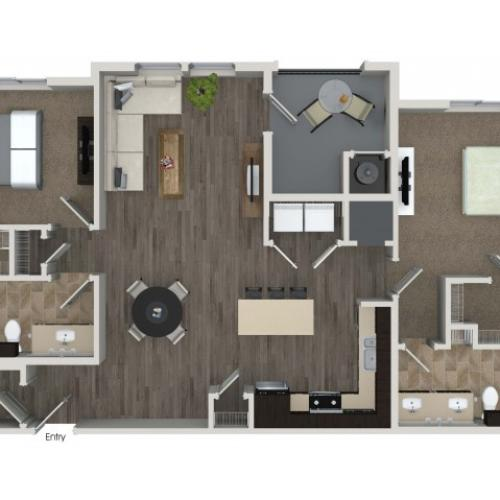 2 bedroom 2 bathroom B5.1 floorplan at Valentia Apartments in La Habra, CA