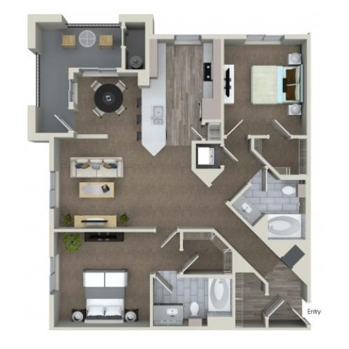 2 bedroom 2 bathroom B6 floorplan at Valentia Apartments in La Habra, CA