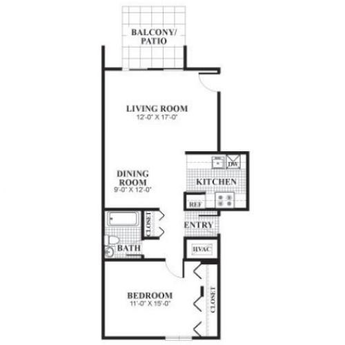 1 bedroom 1 bathroom classical B floorplan at University Heights Apartments in Providence, RI