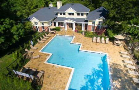 Aerial view of the pool at Residence at White River in Indianapolis, IN