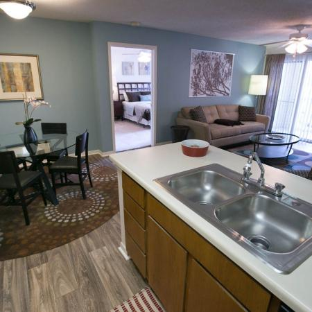 Wood-style flooring at Residence at White River Apartments in Indianapolis, IN