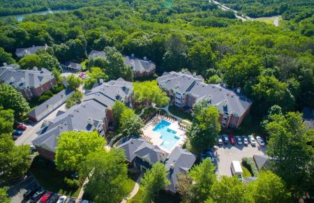 Aerial view of Residence at White River Apartments in Indianapolis, IN