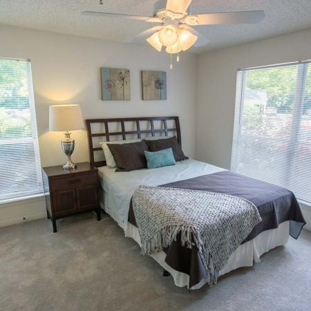 Light filled bedrooms at Residence at White River in Indianapolis, IN