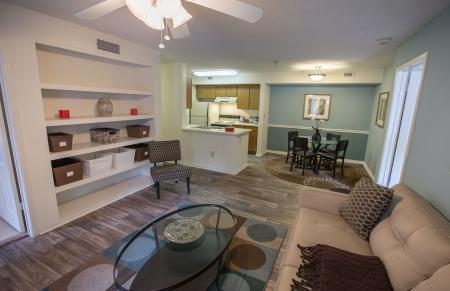Built in shelving at Residence at White River Apartments in Indianapolis, IN