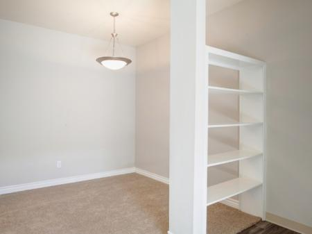 Built-in shelving at Helix Apartments in Las Vegas, NV