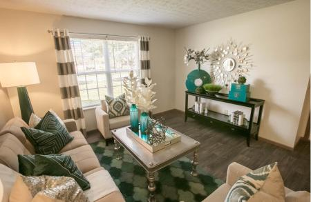 Light Filled Living Room at Sterling Park Apartments in Grove City, Ohio
