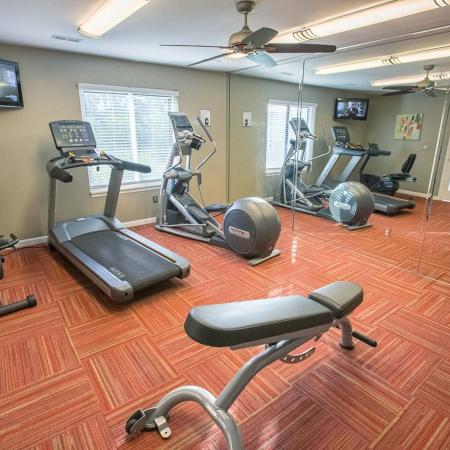 Fitness center at Spring Valley Apartments in Farmington Hills, Michigan