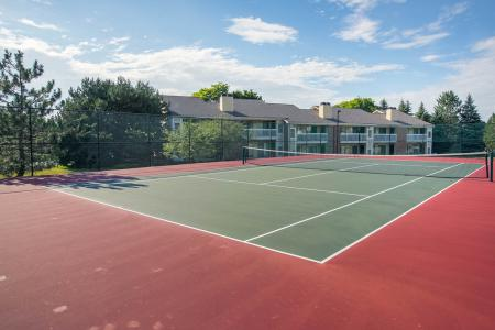 Tennis courts at Spring Valley Apartments in Farmington Hills, Michigan