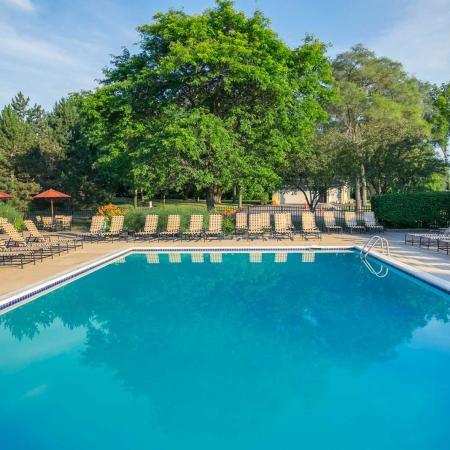 Swimming pool at Spring Valley Apartments in Farmington Hills, Michigan
