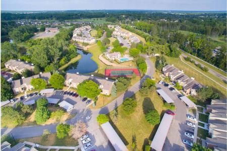 Aerial photo at Spring Valley Apartments in Farmington Hills, Michigan