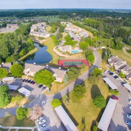 Aerial photo at Spring Valley Apartments in Farmington Hills, Michigan