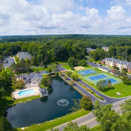 Aerial photo at Summer Ridge Apartments in Kalamazoo, Michigan