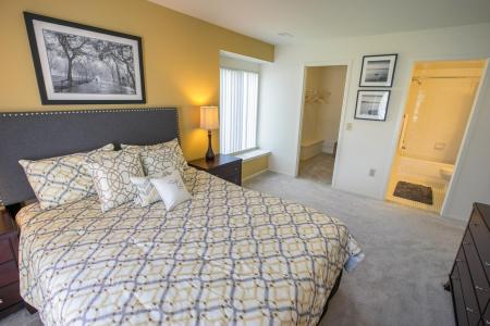 Bedroom at Oaks at Hampton Apartments in Rochester Hills, Michigan