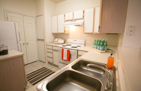 Kitchen with ample storage at Center Point Apartments in Indianapolis, IN