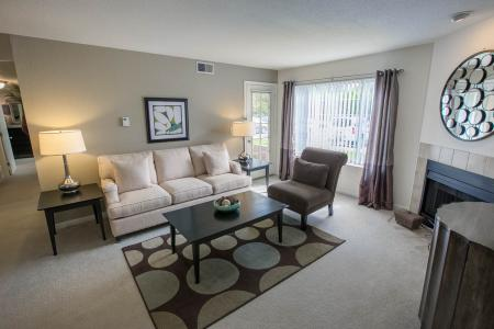 Living Room at The Landings at the Preserve in Battle Creek, Michigan