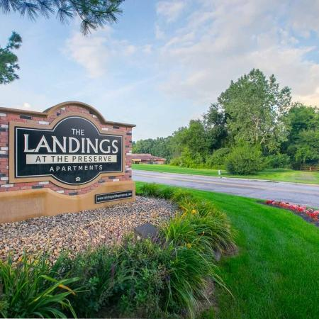 Monument sign at The Landings at the Preserve in Battle Creek, Michigan
