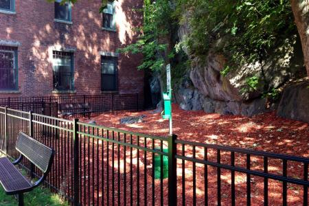 Dog park at Baker Chocolate Factory Apartments in Boston, MA
