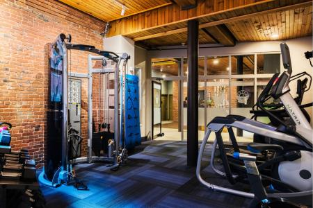 State-of-the-art fitness equipment at Baker Chocolate Factory Apartments in Boston, MA
