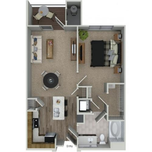 1 bedroom 1 bathroom A1 floorplan at Mave Apartments in Stoneham, MA