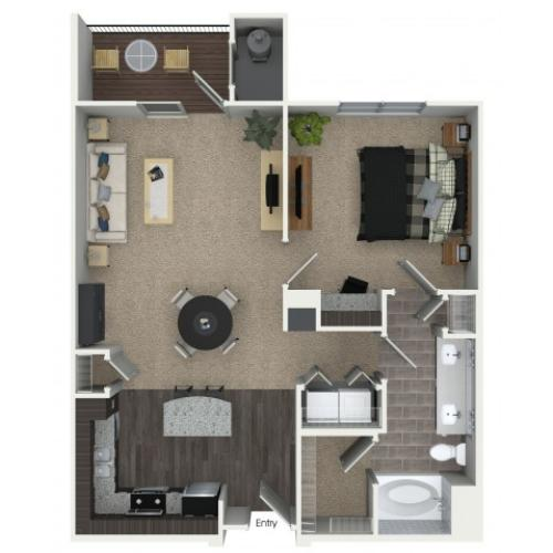 1 bedroom 1 bathroom A2 floorplan at Mave Apartments in Stoneham, MA