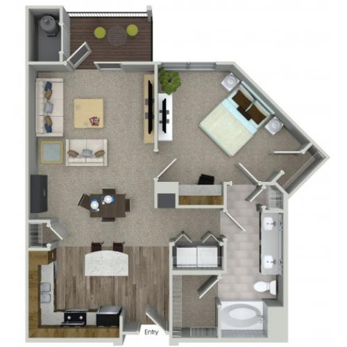 1 bedroom 1 bathroom A3 floorplan at Mave Apartments in Stoneham, MA