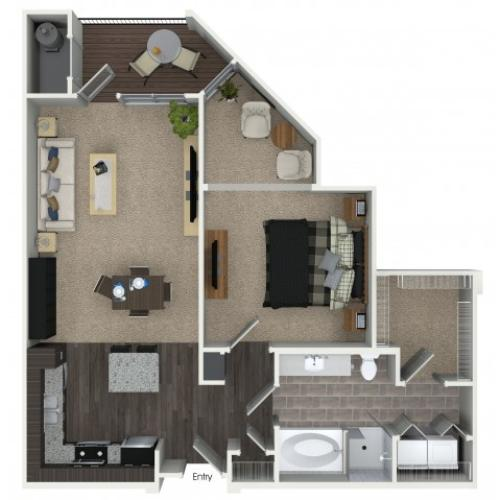 1 bedroom 1 bathroom A4 floorplan at Mave Apartments in Stoneham, MA