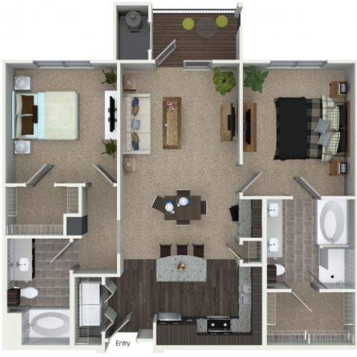 2 bedroom 2 bathroom B2 floorplan at Mave Apartments in Stoneham, MA