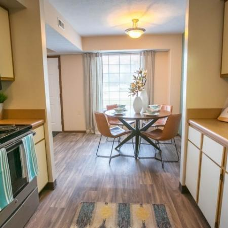 Kitchen with wood look flooring at Westchester Townhomes Rental Homes in Westlake, OH