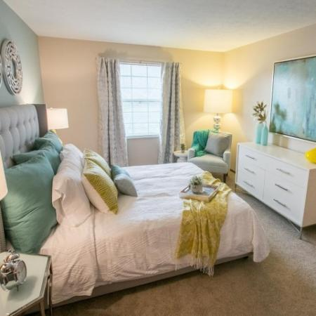 Walk-in closet in the bedroom at Westchester Townhomes Rental Homes in Westlake, OH