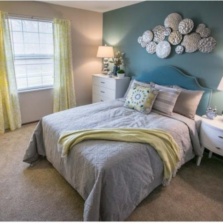 Light filled bedroom at Westchester Townhomes Rental Homes in Westlake, OH