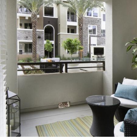 Private patio at Valentia Apartments in La Habra, CA